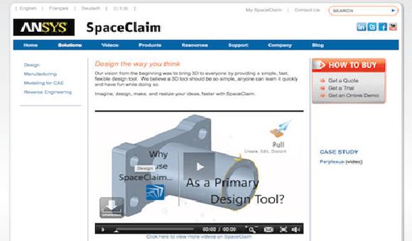 SpaceClaim е бърз и гъвкав 3D инструмент, който улеснява потребителите по-бързо да достигнат до пазара