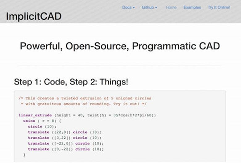 Мощен, отворен код, програмен CAD, ImplicitCAD дава възможност на инженерите да използват език за програмиране за създаване на обекти